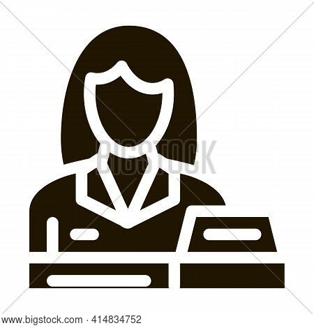 Woman Seller At Checkout Glyph Icon Vector. Woman Seller At Checkout Sign. Isolated Symbol Illustrat