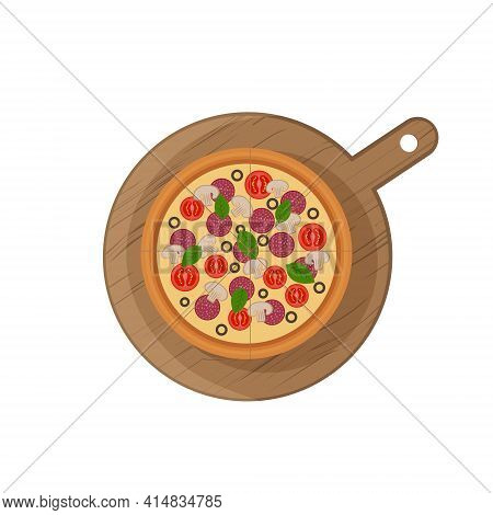 Round Pizza On A Wooden Board. Mediterranean Dish. Vector Illustration In Flat Style Isolated On A W