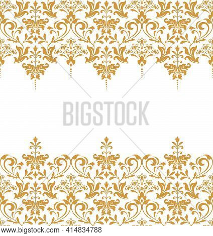 Floral Pattern. Vintage Wallpaper In The Baroque Style. Seamless Vector Background. White And Gold O