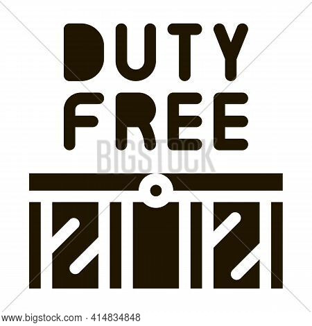 Entrance To Duty Free Shop Glyph Icon Vector. Entrance To Duty Free Shop Sign. Isolated Symbol Illus