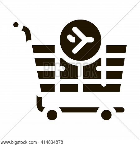 Trolley For Duty Free Products Glyph Icon Vector. Trolley For Duty Free Products Sign. Isolated Symb