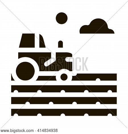 Tractor On Field Glyph Icon Vector. Tractor On Field Sign. Isolated Symbol Illustration