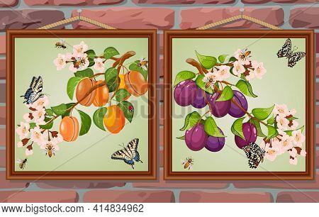 Pictures With Fruits On A Brick Background.set Of Paintings With Fruits On A Brick Wall Background I