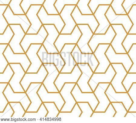 The Geometric Pattern With Lines. Seamless Vector Background. White And Gold Texture. Graphic Modern