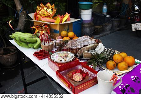 Thai People Prepare Sacrificial Offering And Food Drinks For Rite Offer And Pray To Deity God And Me