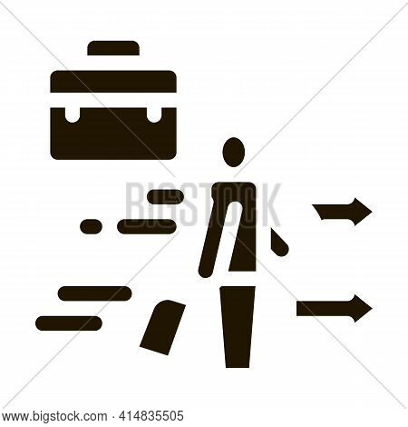 Man With Business Suitcase Glyph Icon Vector. Man With Business Suitcase Sign. Isolated Symbol Illus