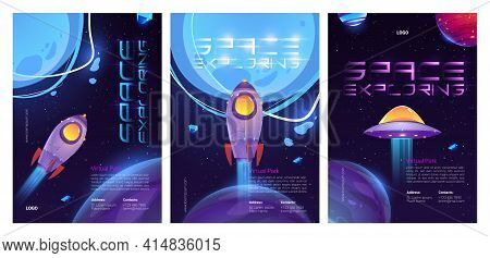 Space Exploring Cartoon Posters With Alien Ufo Saucer, Planets And Rocket Or Shuttle Take Off From E
