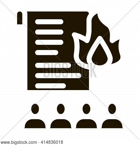 Desire To Burn Documents Glyph Icon Vector. Desire To Burn Documents Sign. Isolated Symbol Illustrat