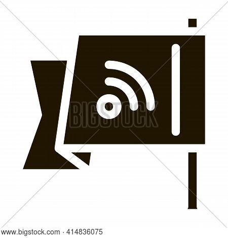 Search Engine Optimization Destination Flag Glyph Icon Vector. Search Engine Optimization Destinatio