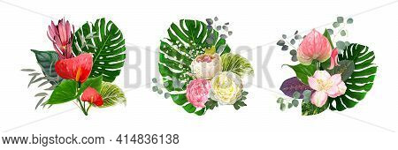 Set Of Luxury Vector Bouquets Isolated On A White Background. Blooming Flowers Of Anthurium, Paeonie