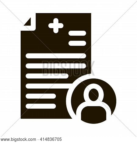 Patient Medical Record Glyph Icon Vector. Patient Medical Record Sign. Isolated Symbol Illustration