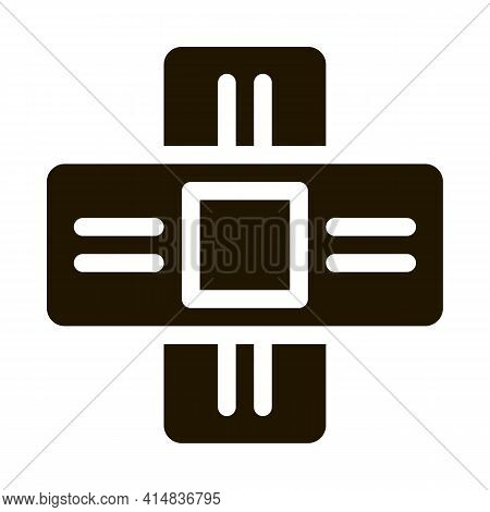 Medical Healing Plaster Glyph Icon Vector. Medical Healing Plaster Sign. Isolated Symbol Illustratio