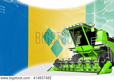 Agriculture Innovation Concept, Green Advanced Rural Combine Harvester On Saint Vincent And The Gren