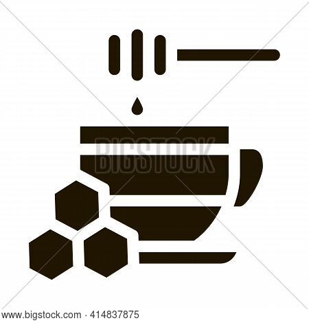 Add Honey To Cup Of Tea Glyph Icon Vector. Add Honey To Cup Of Tea Sign. Isolated Symbol Illustratio