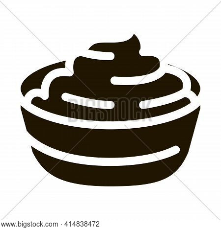 Bowl Of Finished Mayonnaise Glyph Icon Vector. Bowl Of Finished Mayonnaise Sign. Isolated Symbol Ill