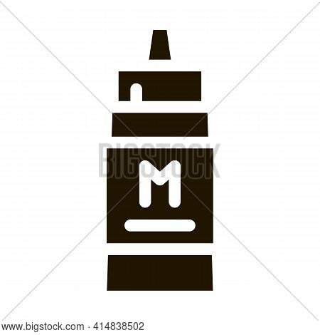Squeezes Bottle Of Mayonnaise Sauce Glyph Icon Vector. Squeezes Bottle Of Mayonnaise Sauce Sign. Iso