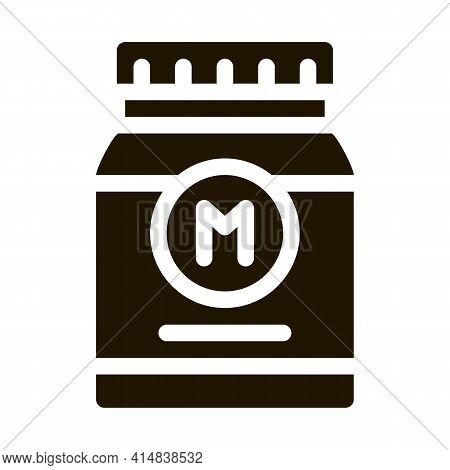 Jar Of Mayonnaise Sauce Glyph Icon Vector. Jar Of Mayonnaise Sauce Sign. Isolated Symbol Illustratio