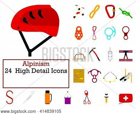 Alpinism Icon Set. Flat Design. Fully Editable Vector Illustration. Text Expanded.