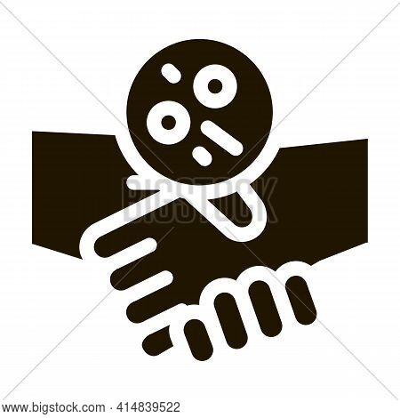 Handshake Dermatitis Transmission Glyph Icon Vector. Handshake Dermatitis Transmission Sign. Isolate