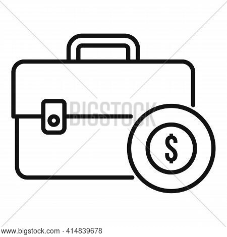 Broker Briefcase Icon. Outline Broker Briefcase Vector Icon For Web Design Isolated On White Backgro
