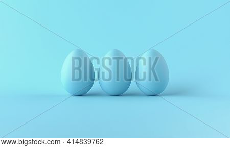 Three Blue Chicken Eggs On Blue Background. 3d Rendering