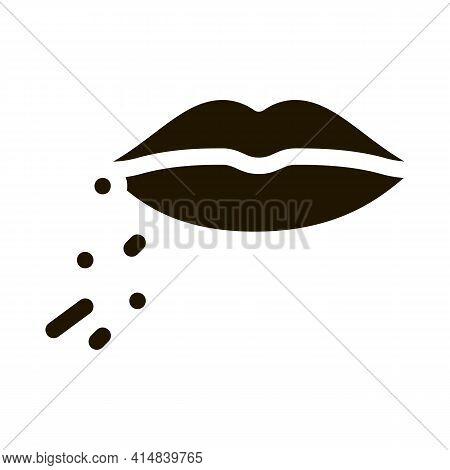 Dermatitis Near Lips Glyph Icon Vector. Dermatitis Near Lips Sign. Isolated Symbol Illustration