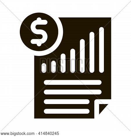 Monetary Statement Document Glyph Icon Vector. Monetary Statement Document Sign. Isolated Symbol Ill