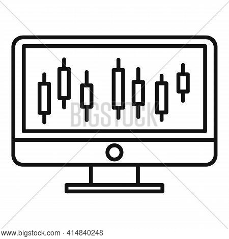 Broker Monitor Icon. Outline Broker Monitor Vector Icon For Web Design Isolated On White Background
