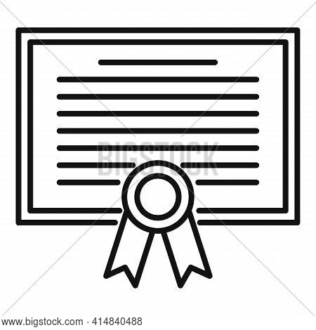 Broker Diploma Icon. Outline Broker Diploma Vector Icon For Web Design Isolated On White Background