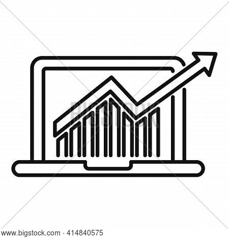 Finance Laptop Icon. Outline Finance Laptop Vector Icon For Web Design Isolated On White Background