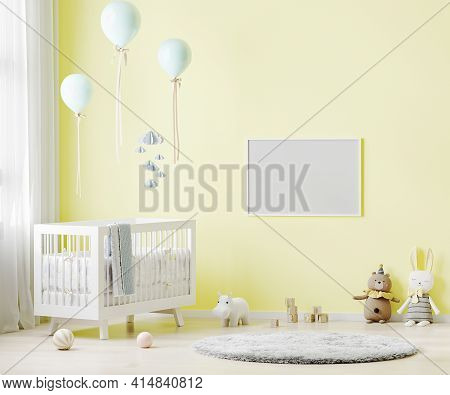 Blank Horizontal Frame Mock Up On Yellow Wall In Nursery Room Interior Background With Baby Bedding,
