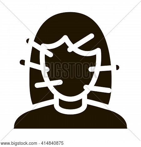 Female Face Acupuncture Glyph Icon Vector. Female Face Acupuncture Sign. Isolated Symbol Illustratio