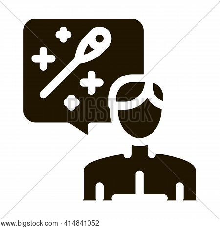 Man Thinking About Acupuncture Glyph Icon Vector. Man Thinking About Acupuncture Sign. Isolated Symb