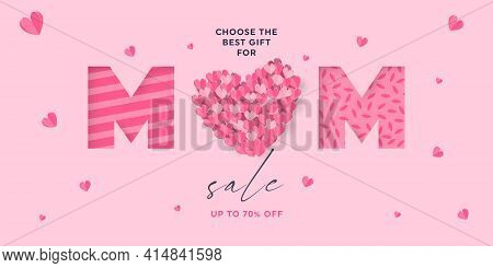 Happy Mothers Day Sale Banner. Big Heart Made Of Paper Cut Hearts With Word Mom