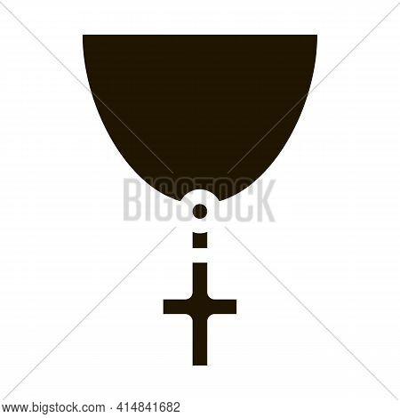 Christian Cross On Neck Glyph Icon Vector. Christian Cross On Neck Sign. Isolated Symbol Illustratio