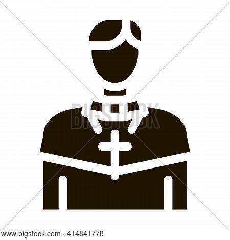 Christian Monk Glyph Icon Vector. Christian Monk Sign. Isolated Symbol Illustration