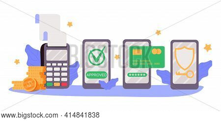 Mobile Payments. Online Sending Money From Mobile Wallet To Bank Card, Golden Coins Transfer App And