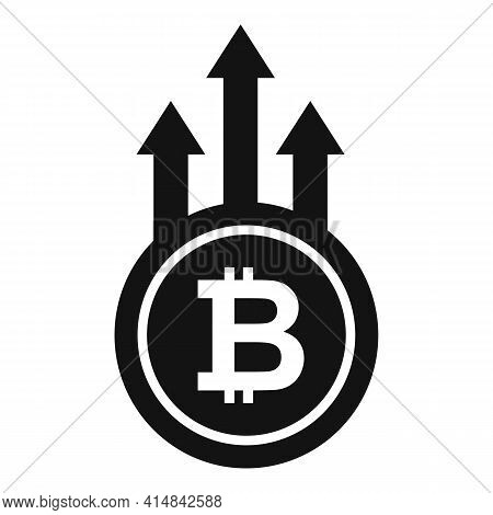 Bitcoin Trade Grow Icon. Simple Illustration Of Bitcoin Trade Grow Vector Icon For Web Design Isolat