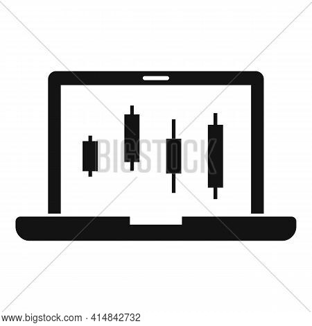 Laptop Trader Icon. Simple Illustration Of Laptop Trader Vector Icon For Web Design Isolated On Whit