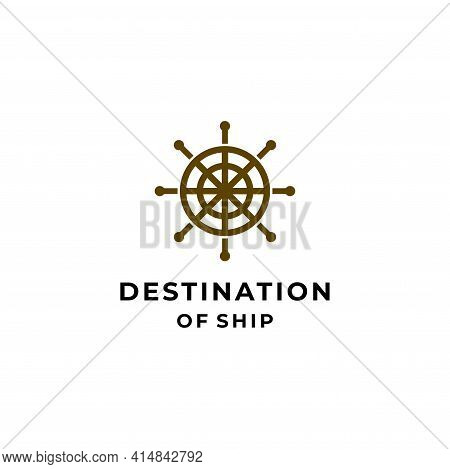 Modern And Clean Logo Of Ship Rudder On White Background. Eps10, Vector.