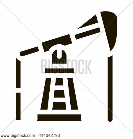 Pumping Gas From Tower Glyph Icon Vector. Pumping Gas From Tower Sign. Isolated Symbol Illustration