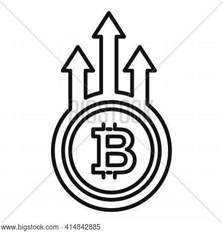 Bitcoin Trade Grow Icon. Outline Bitcoin Trade Grow Vector Icon For Web Design Isolated On White Bac