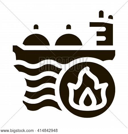 Gas Outlets At Sea Glyph Icon Vector. Gas Outlets At Sea Sign. Isolated Symbol Illustration
