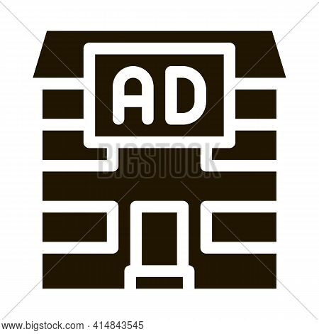 Residential Ad Glyph Icon Vector. Residential Ad Sign. Isolated Symbol Illustration