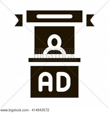 Advertising Reception Center Glyph Icon Vector. Advertising Reception Center Sign. Isolated Symbol I