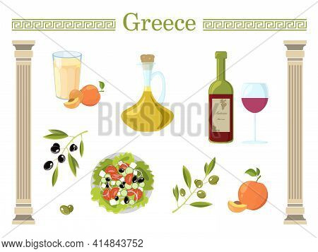 Travel Concept Greece Landmark. Greek Themed Objects Isolated On White Background.