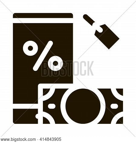 Money Phone Pledge Glyph Icon Vector. Money Phone Pledge Sign. Isolated Symbol Illustration