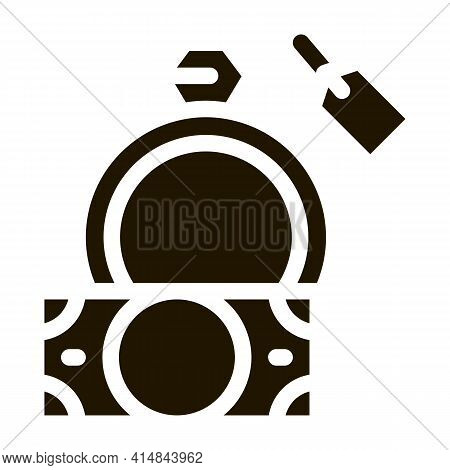 Delivery Of Precious Ring To Pawnshop Glyph Icon Vector. Delivery Of Precious Ring To Pawnshop Sign.