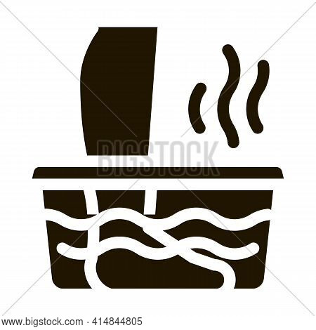 Steaming Foot Bath Glyph Icon Vector. Steaming Foot Bath Sign. Isolated Symbol Illustration