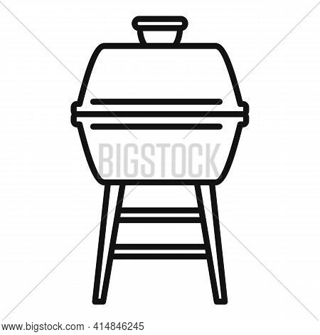 Brazier Bbq Icon. Outline Brazier Bbq Vector Icon For Web Design Isolated On White Background